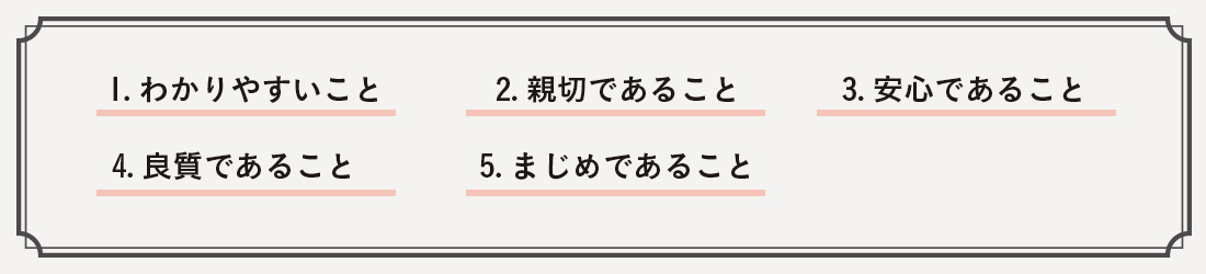 1.わかりやすいこと 2.親切であること 3.安心であること 4.良質であること 5.まじめであること